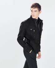 Double zipper favorable coat for men with many pockets
