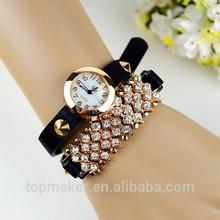 Fashion rivet set drill lady leather womens wrist watch bracelet