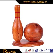 High quality Eco-friendly sports Wood Carving Crafts puzzle, bowling, teapot, rugby, football, soft ball Wooden puzzle toys