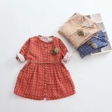 tad1115 spring children dress 2015 dot cotton kid clothes