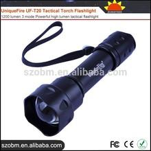 Wholesale UniqueFire UF-T20 High Lumen Tactical Torch Flashlight,1200 lumen 3 mode Powerful high lumen tactical flashlight