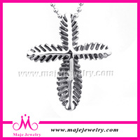 Fish bone surface vintage cross silver infinity pendant