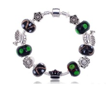 Handmade Bracelet 925 Tibetan Silver Murano Glass Bracelets For Women Fashion European Style Jewelry