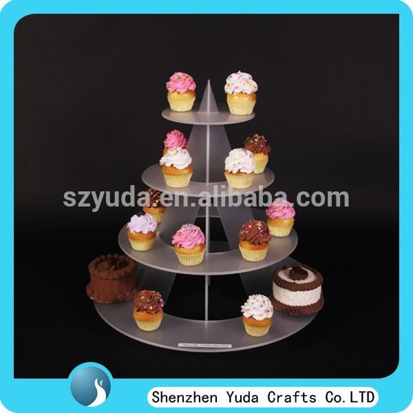 มินิกรวยอะคริลิฝ้ายืนคัพเค้กที่, 4ชั้นชั้นแสดงลูกอม, น้ำค้างแข็งผู้ถือยืนเค้กขายส่ง