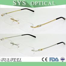 Classic rectangle stainless steel rimless eyeglass optical frame for men