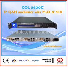 digital catv ip to qam modulator with mux-scrambler COL5400C