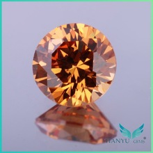 wholesale round faceted D-champagne aaa synthetic gemstone loose american cut imitation diamonds for jewelry making free sample