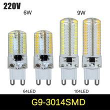 1pcs 220V 110V smd 3014 G9 LED 6W 9W LED Corn Light Bulb Super bright 360 degree Replace 30W Halogen Lamp mini candle spotlight