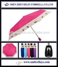 Auto open cheap folding fashion lady beautiful pattern wholesaler pongee umbrella 3 fold