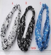 Anchor printed elastic fabric headband ladies head wraps