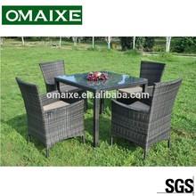 plastic PE rattan high quality rattan furniture rattan dining set OXAB5004 glass on the top