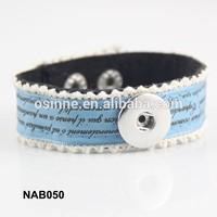 Stock China alibaba personalized DIY women snap Leather Bracelet cheap NAB050