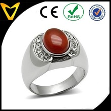 Oval Semi-Precious Red Onyx Stone Men's Ring, Mens Stainless Steel Ring With Big Stone, Mens Stainless Steel Jewelry