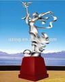 Extérieur sculpture en acier inoxydable paysage art abstrait- statue d&eacu