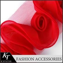 Bulk Shabby Flower Trim Wholesale/ Folded Chiffon Lace Trim/Red Ribbon Chiffon Border