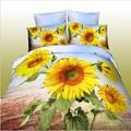 خياطة غطاء سرير الكبار 3d/ مجموعة عباد الشمس الفراش حجم الملكة التوأم/ عادي ملاءات السرير البوليستر