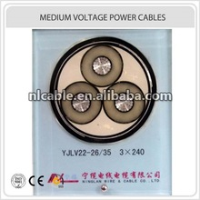 XLPE Insulation PVC Sheath 3core 26/35kV YJLV22 3*240mm Electric Power Cable