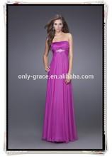 Hot sale strapless silver beaded chiffon zip up back long Prom Dress GL0331