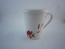 ceramic mug with lid, square shape mugs with flower decal design, factory direct price