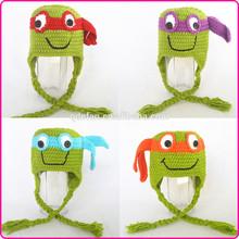Hot sell cute cartoon baby hat crochet ninja turtle hat for kids children