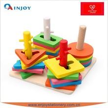 Wooden Geometry Building Block For Enlightening Children