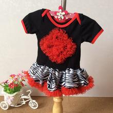 Kids Romper baby coveralls European and American trade zebra print cotton dress tutu Ruansha