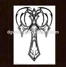 Custom High Quality Black & Write Cartoon Safety Temporary Cross Tattoos