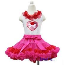 Hot Pink Red Pettiskirt Plus Bling Heart Rose White Tank Top