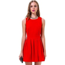 2015 Summer Sleeveless Back Hollow Out Pleated Knee Length Latest Women Ladies Girl Party Dress