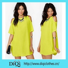 Hot selling latest design tropical pure color loose summer dress
