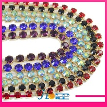 SS45 colored handmade rhinestone glass crystal cup chain crystal fancy stone chain trimming
