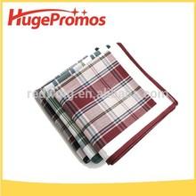 Fashion Custom 100% Cotton Plaid Handkerchief With Striped Border
