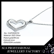 Jewelry pendant 925 SILVER 2 close heart one zircon micro pave,one high polished heart pendant charm latest 2015