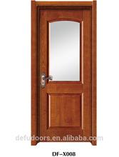 two panel natural veneer mould glass painting door/toilet door/bathroom door