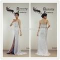 Luz cor azul off- ombro frisada pura seda beading pesados padrão graça fenda lado sexy vestidos de noite& vestidos de noiva
