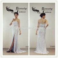 light blue color off-shoulder beaded pure silk heavy beading pattern grace sexy side slit evening dresses & wedding dresses