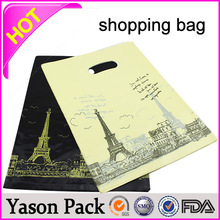 Yason high quality luxury gift bags for western shopping punch hole handle shopping plastic bag cardboard insert for rigid loop