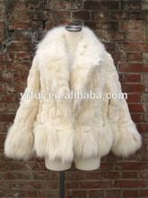 YR135 Italian Women real fox fur collar & rabbit fur coat women