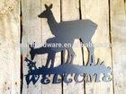 Rustic metal DEER welcome sign Plasma cut metal wall art