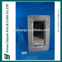 New design wooden wicker framed handmade home decorative wall mirror