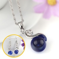 2015 Newest Necklace Earring Set Silver Chain Cat Eye Pendant Chain Necklace Set