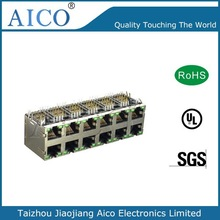 2015 new product 10/100/1000 Base-T Magnetics 2x6 with LED best multi-port rj45 connector price
