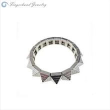 2015 Korean Fashion Design Simple New Hot Sale Rhodium Bracelet Pyramid Mens Bracelet Mode