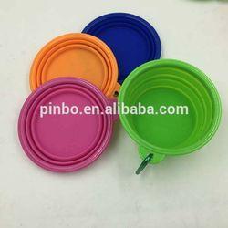 Pocket Foldable dog feeding bowl with Carabiner Clip