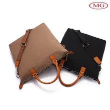 12oz water washed canvas +PU men shoulder handbag message bag with long single strap