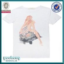 Moda de alta qualidade nua menina de impressão t - camisa