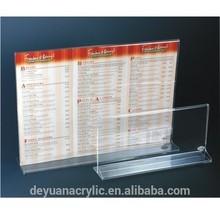 factory price clear 4x6 acrylic menu holder/plexiglass plastic menu holder