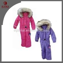 Fur Hooded Belted Child Ski Suit Girls