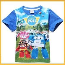New Formal Cotton T-Shirts Lovely Boy T-Shirts Robocar Poli T-shirt