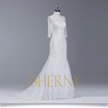 Sherny Bridals Factory Price Tea Length Wedding Dresses Long Sleeves